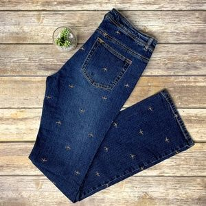 Lilly Pulitzer Dragonfly Embroidered Denim Jeans